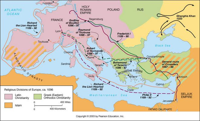 Route of Robert of Normandy - first crusade